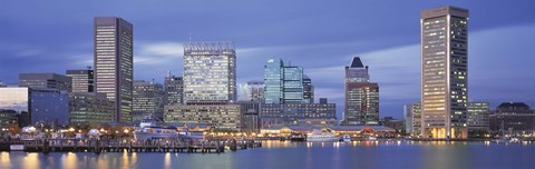 Framed Panoramic View Of An Urban Skyline At Twilight, Baltimore, Maryland, USA Print