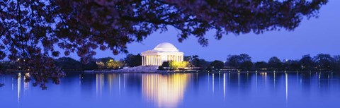Framed Jefferson Memorial at Night Print