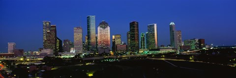 Framed Houston, Texas Skyline at Night Print