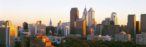 Framed Philadelphia in the Sun, Panoramic View Print