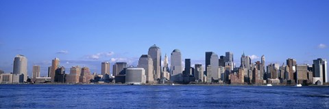Framed New York City Skyline with Bright Blue Sky and Water Print