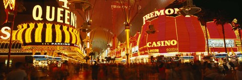 Framed Casino Lit Up At Night, Fremont Street, Las Vegas, Nevada Print