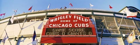 Framed Red score board outside Wrigley Field,USA, Illinois, Chicago Print