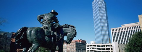 Framed Low Angle View Of A Statue In Front Of Buildings, Dallas, Texas, USA Print