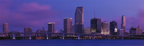 Framed Buildings At The Waterfront, Miami, Florida, USA (purple sky) Print