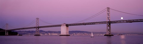 Framed Suspension bridge over a bay, Bay Bridge, San Francisco, California, USA Print