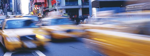 Framed Yellow taxis on the road, Times Square, Manhattan, New York City, New York State, USA Print