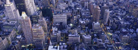 Framed Aerial View Of Buildings In A City, Manhattan, NYC, New York City, New York State, USA Print