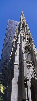 Framed Low angle view of a cathedral, St. Patrick's Cathedral, Manhattan, New York City, New York State, USA Print