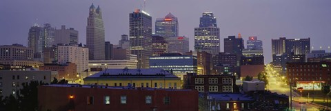Framed Buildings lit up at dusk, Kansas City, Missouri, USA Print