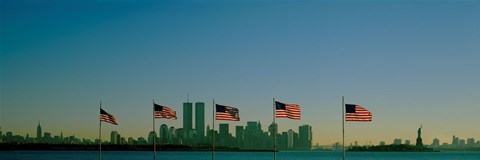 Framed American flags in a row, New York City, New York State, USA Print