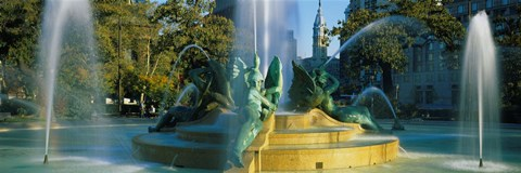 Framed Fountain In Front Of A Building, Logan Circle, City Hall, Philadelphia, Pennsylvania, USA Print