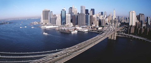 Framed Aerial View Of Brooklyn Bridge, Lower Manhattan, NYC, New York City, New York State, USA Print
