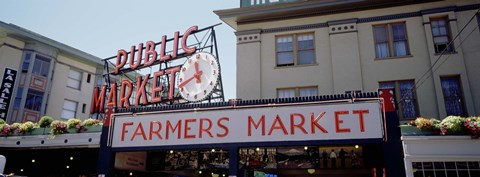 Framed Low angle view of buildings in a market, Pike Place Market, Seattle, Washington State, USA Print
