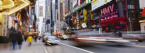 Framed Traffic on the street, 42nd Street, Manhattan, New York City, New York State, USA Print