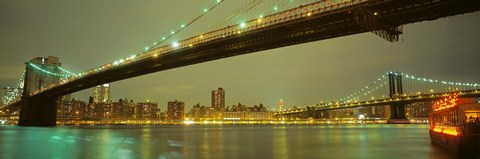 Framed USA, New York, Brooklyn and Manhattan Bridges Print