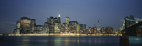 Framed Buildings On The Waterfront, NYC, New York City, New York State, USA Print