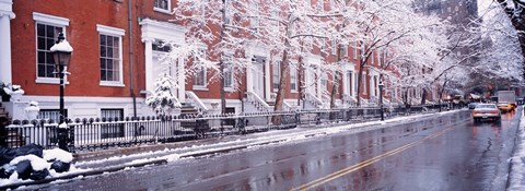 Framed Winter, Snow In Washington Square, NYC, New York City, New York State, USA Print