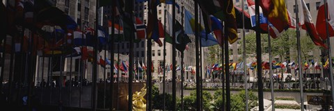 Framed Flags in a row, Rockefeller Plaza, Manhattan, New York City, New York State, USA Print