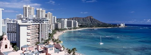 Framed Buildings at the waterfront, Waikiki Beach, Honolulu, Oahu, Maui, Hawaii, USA Print