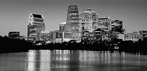 Framed USA, Texas, Austin, Panoramic view of a city skyline (Black And White) Print