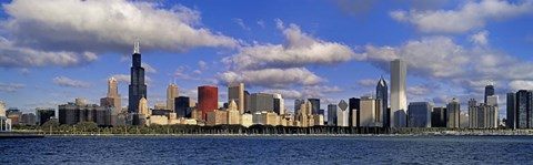 Framed USA, Illinois, Chicago, Panoramic view of an urban skyline by the shore Print