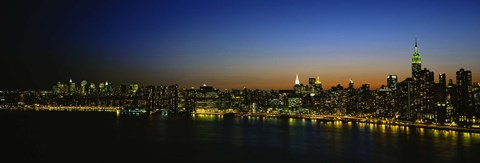 Framed City skyline at night, view of Manhattan from Long Island, New York City, New York State, USA Print