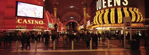 Framed USA, Nevada, Las Vegas, The Fremont Street, Large group of people at a market street Print
