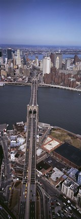 Framed Aerial View Of A Bridge, Brooklyn Bridge, Manhattan, NYC, New York City, New York State, USA Print