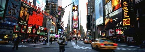 Framed Traffic on a road, Times Square, New York City Print