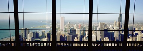 Framed High angle view of a city as seen through a window, Chicago, Illinois, USA Print