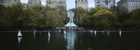 Framed Toy boats floating on water, Central Park, Manhattan Print