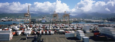 Framed Containers And Cranes At A Harbor, Honolulu Harbor, Hawaii, USA Print