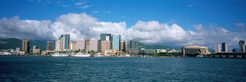 Framed Buildings On The Waterfront, Downtown, Honolulu, Hawaii, USA Print