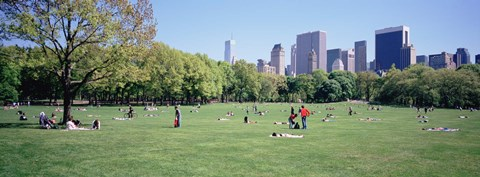 Framed Group Of People In A Park, Sheep Meadow, Central Park, NYC, New York City, New York State, USA Print