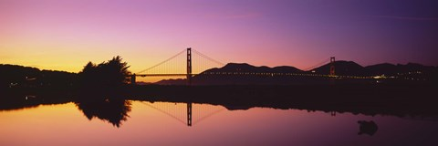 Framed Reflection Of A Suspension Bridge On Water, Golden Gate Bridge, San Francisco, California, USA Print