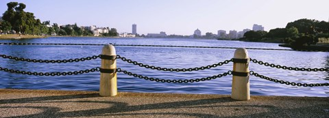 Framed Lake In A City, Lake Merritt, Oakland, California, USA Print
