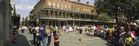 Framed Tourists in front of a building, New Orleans, Louisiana, USA Print