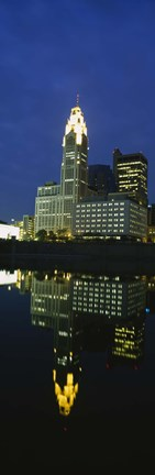 Framed Buildings in a city lit up at night, Scioto River, Columbus, Ohio, USA Print