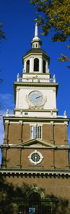 Framed Low angle view of a clock tower, Independence Hall, Philadelphia, Pennsylvania, USA Print