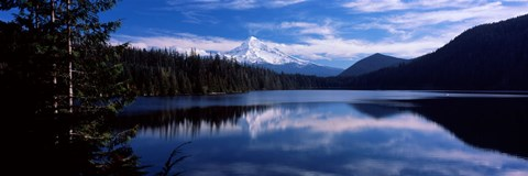 Framed Reflection of clouds in water, Mt Hood, Lost Lake, Mt. Hood National Forest, Hood River County, Oregon, USA Print