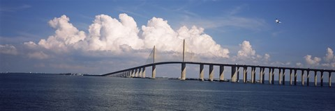 Framed Suspension bridge across the bay, Sunshine Skyway Bridge, Tampa Bay, Gulf of Mexico, Florida, USA Print