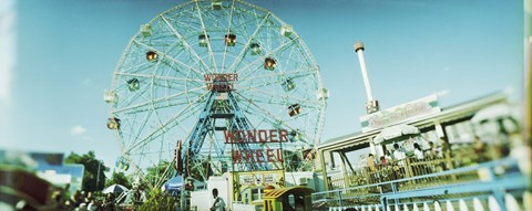 Framed Low angle view of a ferris wheel, Wonder Wheel, Coney Island, Brooklyn, New York City, New York State, USA Print