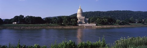 Framed West Virginia State Capitol from the Riverside, Charleston, West Virginia Print