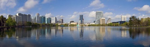 Framed Reflection of buildings in a lake, Lake Eola, Orlando, Orange County, Florida, USA 2010 Print