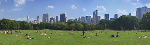 Framed Tourists resting in a park, Sheep Meadow, Central Park, Manhattan, New York City, New York State, USA Print