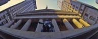 Low angle view of a stock exchange building, New York Stock Exchange, Wall Street, Manhattan, New York City, New York State, USA  Fine Art Print