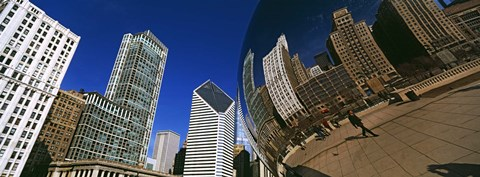 Framed Reflection of buildings on Cloud Gate sculpture, Millennium Park, Chicago, Cook County, Illinois, USA Print