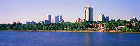 Framed Buildings at the waterfront, Arkansas River, Tulsa, Oklahoma Print