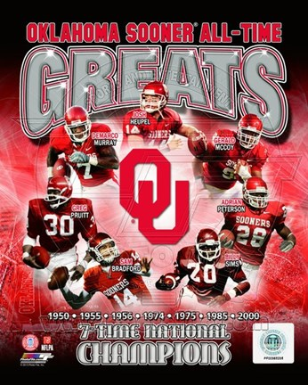 Framed University of Oklahoma Sooners All Time Greats Composite Print